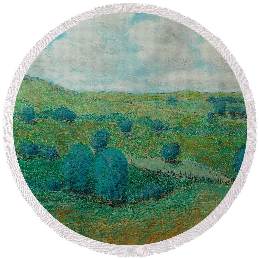 Landscape Round Beach Towel featuring the painting Dry Hills by Allan P Friedlander
