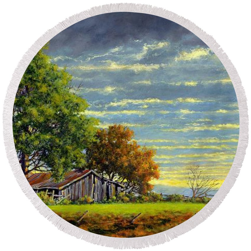 Landscape Round Beach Towel featuring the painting Dusk by Jim Gola