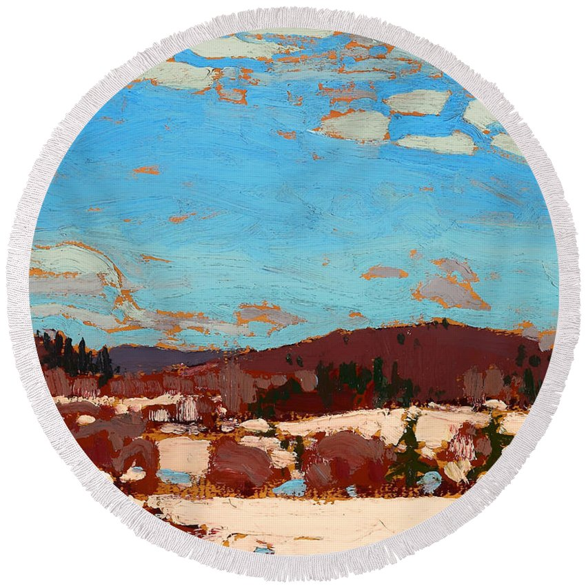 Painting Round Beach Towel featuring the painting Early Spring by Mountain Dreams