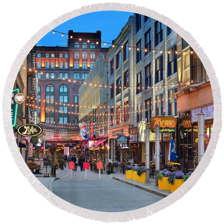 Cleveland Round Beach Towel featuring the photograph East Fourth Street In Cleveland by Frozen in Time Fine Art Photography