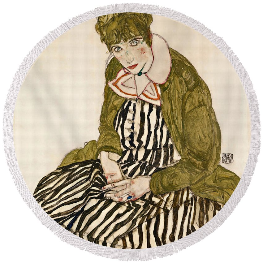 Egon Schiele Round Beach Towel featuring the drawing Edith With Striped Dress Sitting by Egon Schiele