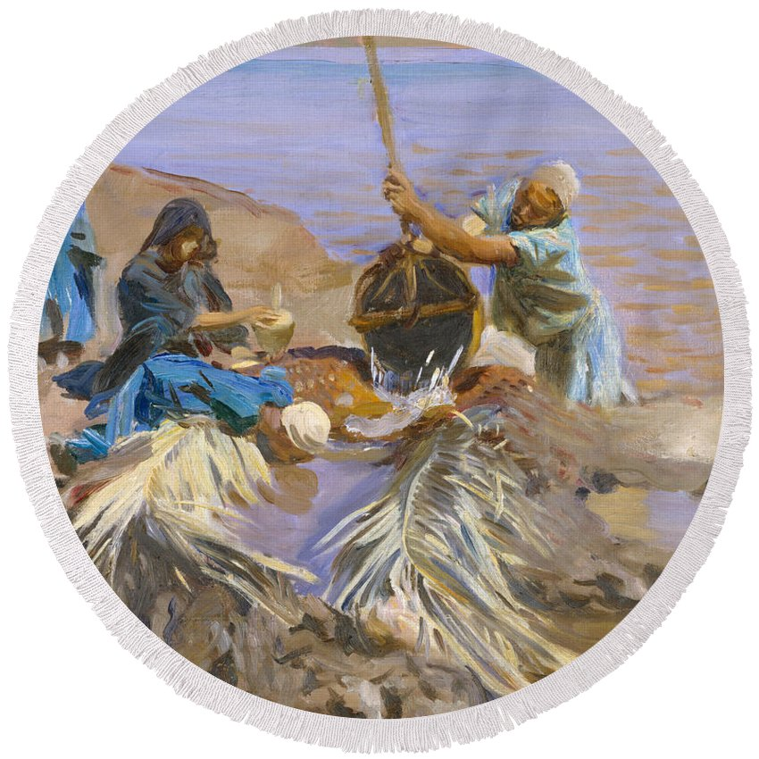 John Singer Sargent Round Beach Towel featuring the painting Egyptians Raising Water From The Nile by John Singer Sargent
