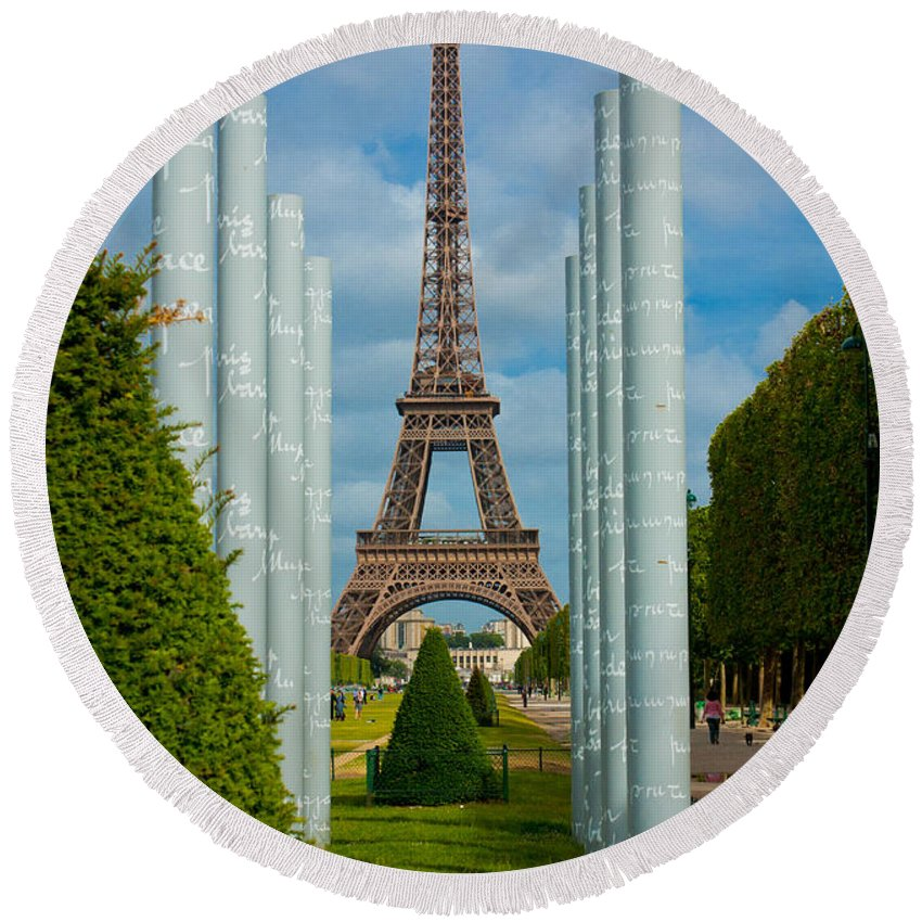 Eiffel Tower Round Beach Towel featuring the photograph Eiffel Tower by Anthony Doudt