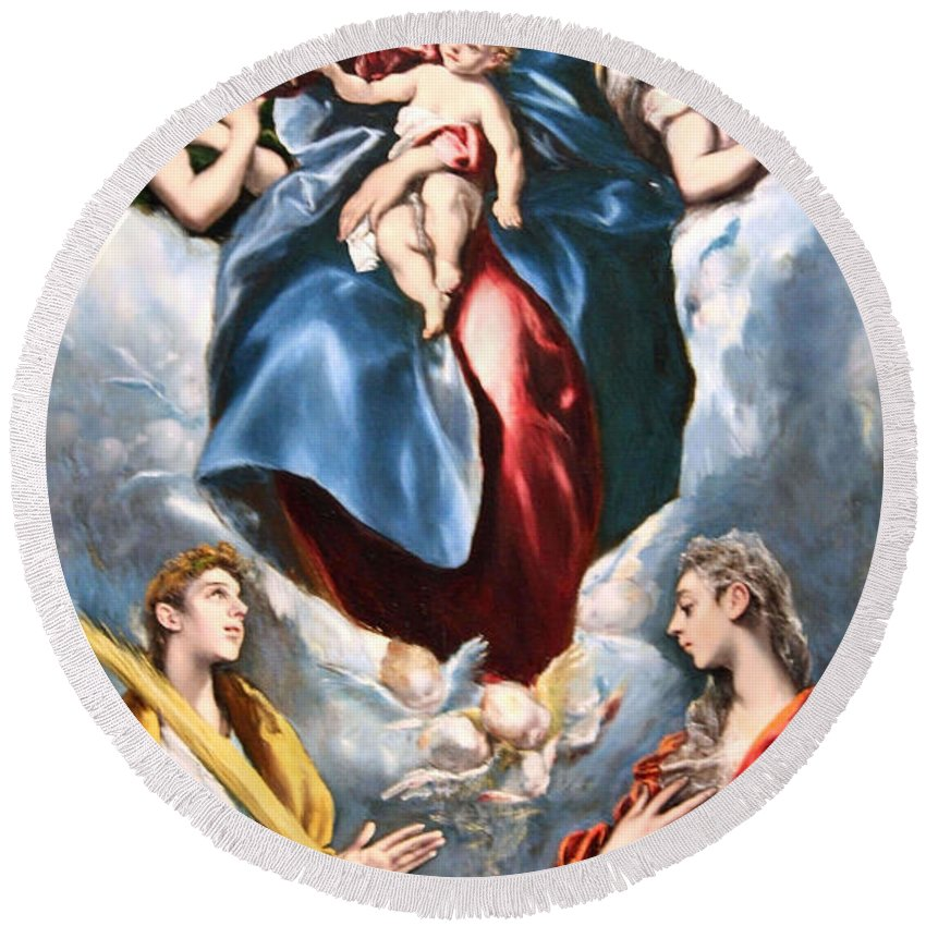 Madonna And Child With Saint Martina And Saint Agnes Round Beach Towel featuring the photograph El Greco's Madonna And Child With Saint Martina And Saint Agnes by Cora Wandel