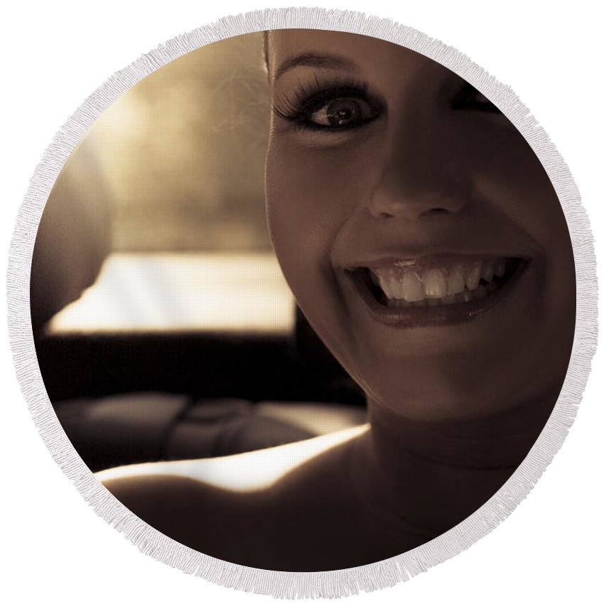 Woman Round Beach Towel featuring the photograph Elated Bride Sitting In The Wedding Car by Jorgo Photography - Wall Art Gallery