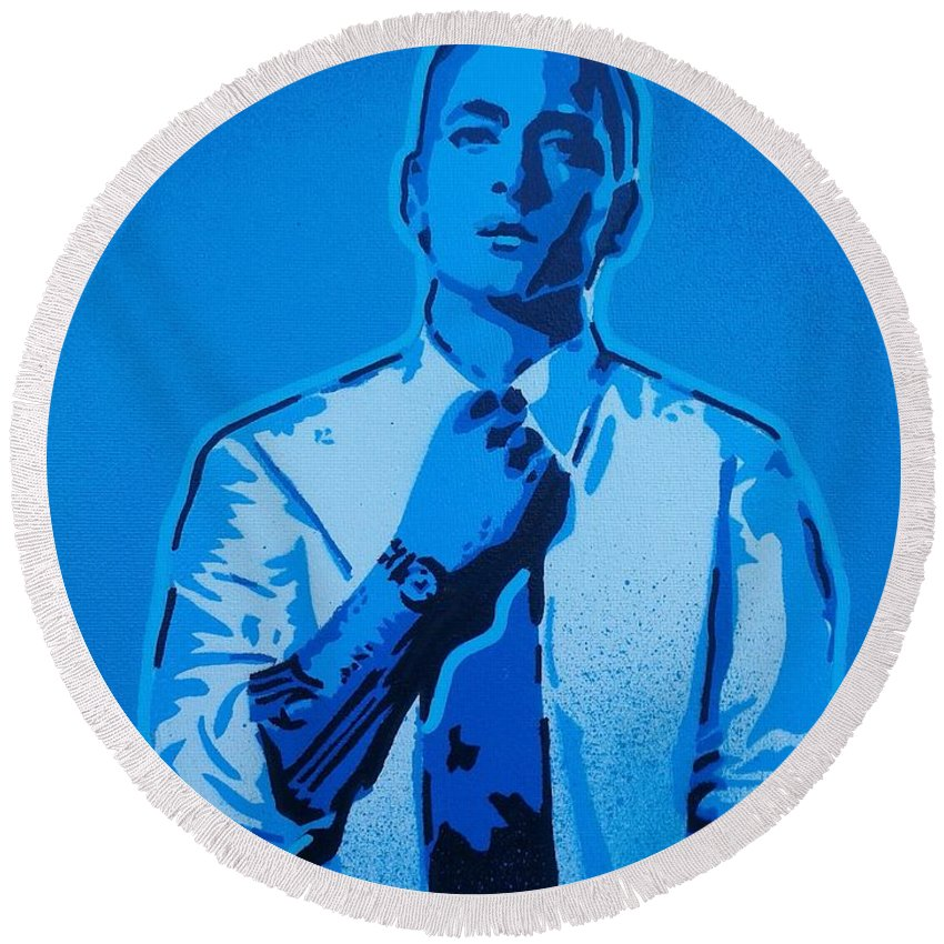 Eminem Round Beach Towel featuring the painting Eminem 8 Mile by Leon Keay
