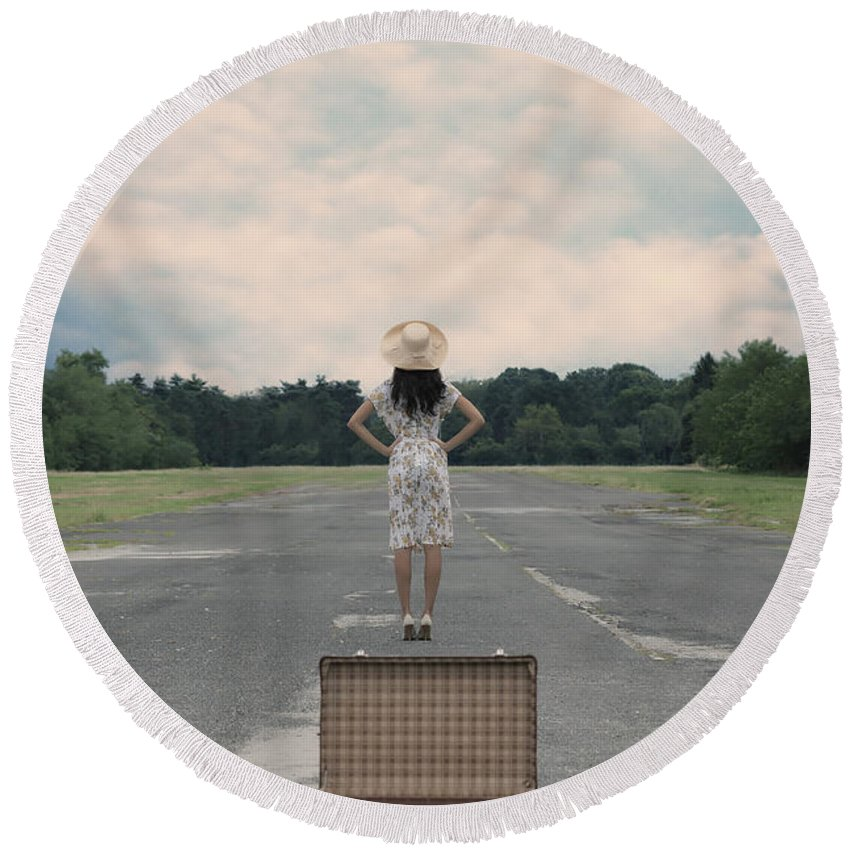 Girl Round Beach Towel featuring the photograph Empty Suitcase by Joana Kruse