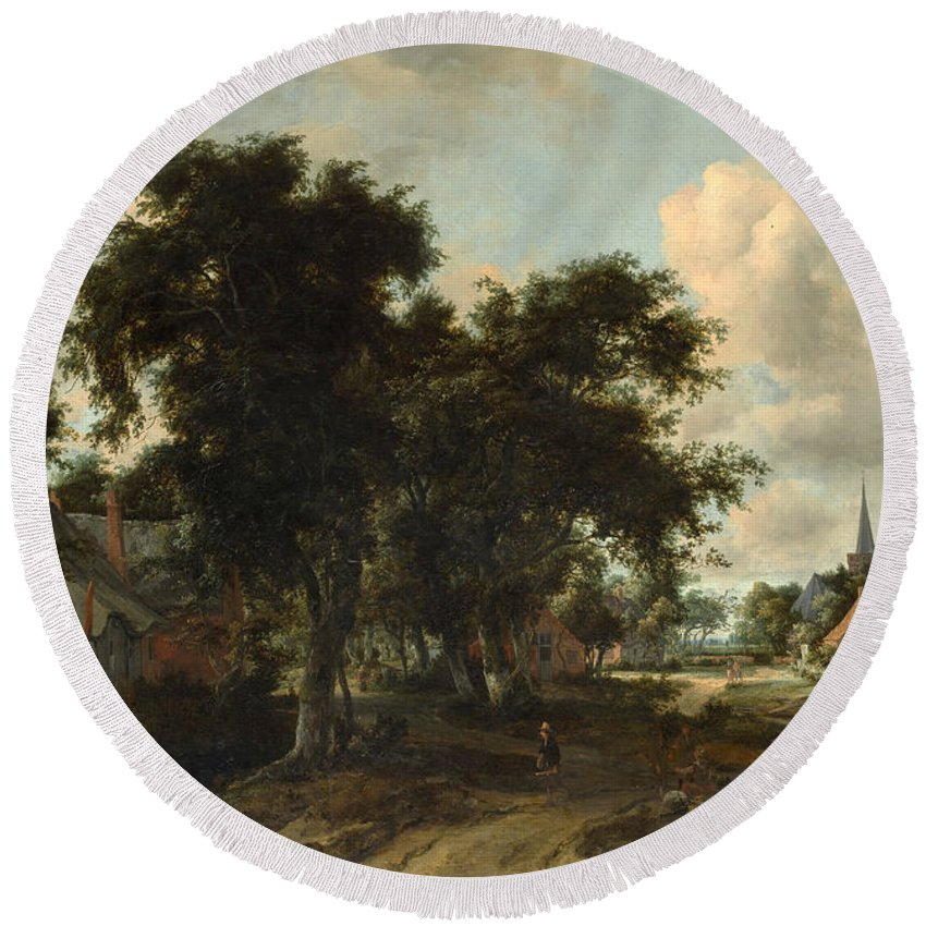 Meindert Hobbema Round Beach Towel featuring the painting Entrance To A Village by Meindert Hobbema