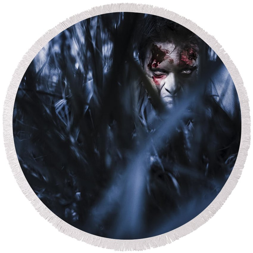 Scary Round Beach Towel featuring the photograph Evil Man Hiding In Silence At Dark Forest by Jorgo Photography - Wall Art Gallery