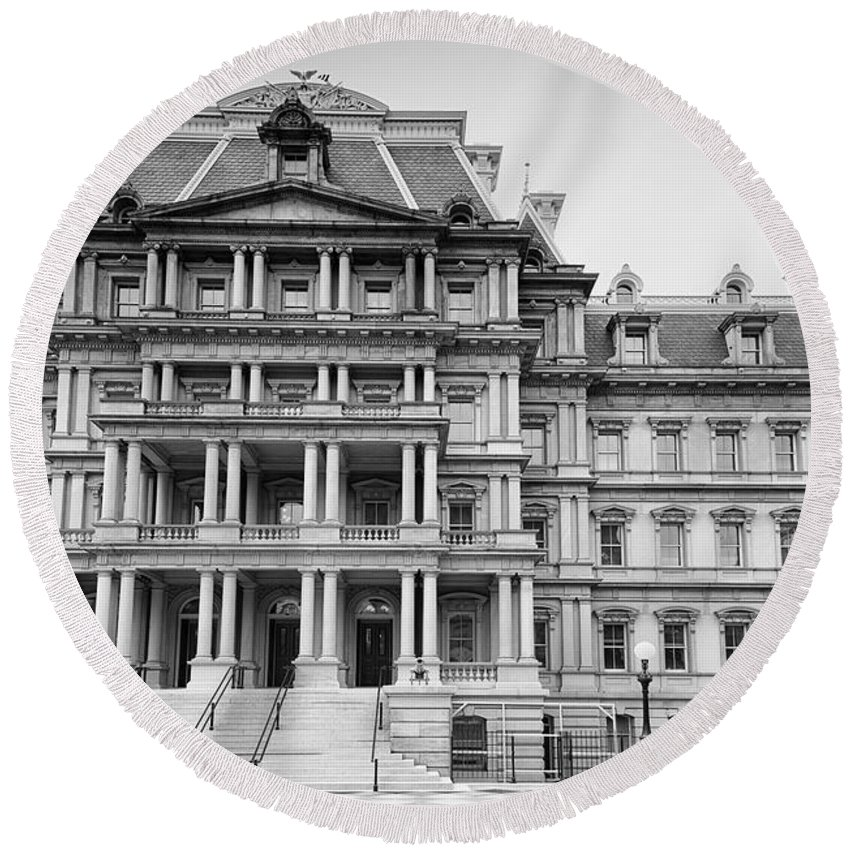 Executive Office Building Round Beach Towel featuring the digital art Executive Office Building by Carol Ailles