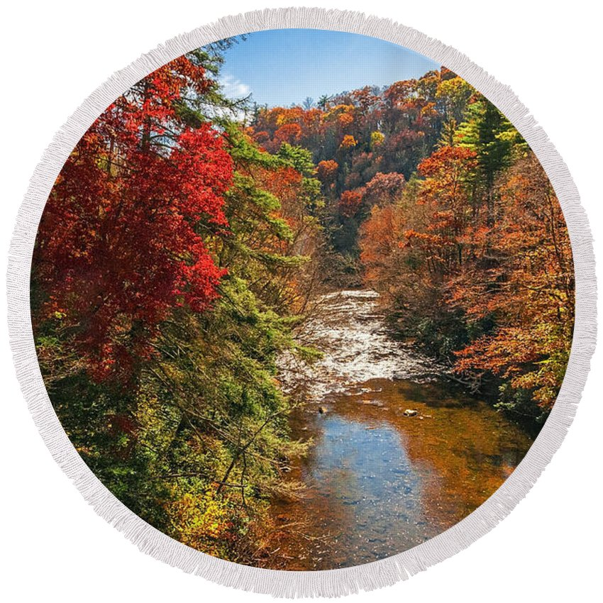 Landscapes Round Beach Towel featuring the photograph Fall Along The Linville River by Lynn Bauer
