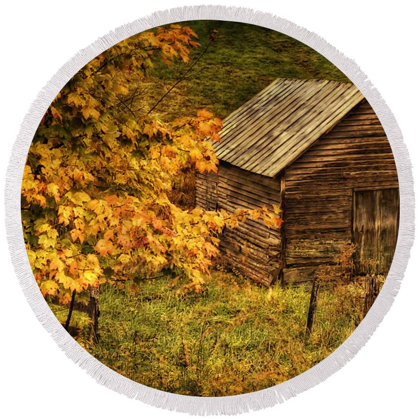 Autumn Round Beach Towel featuring the photograph Fall At The Farm by Priscilla Burgers