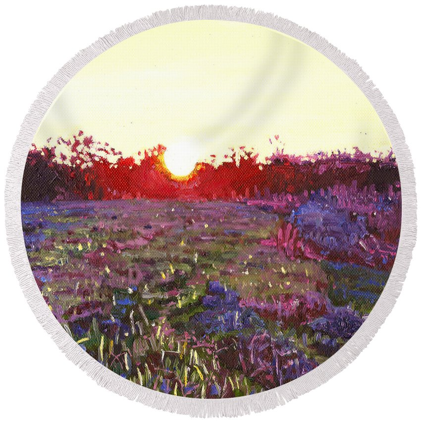 Sun Round Beach Towel featuring the painting Farley Sunset by Helen White