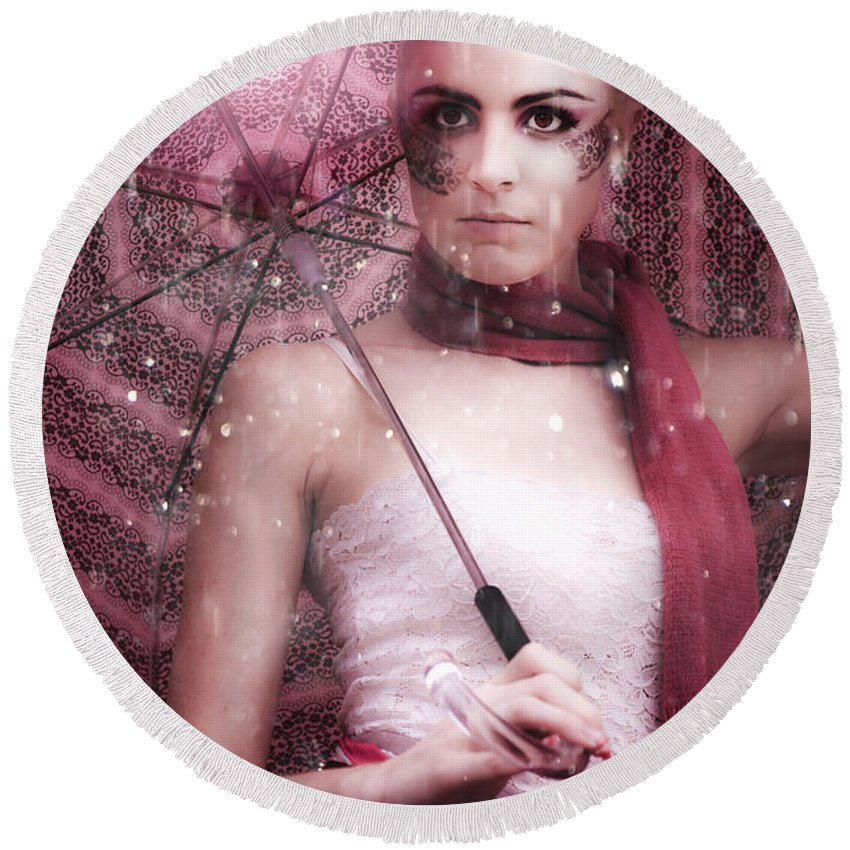 Attractive Round Beach Towel featuring the photograph Fashion by Jorgo Photography - Wall Art Gallery
