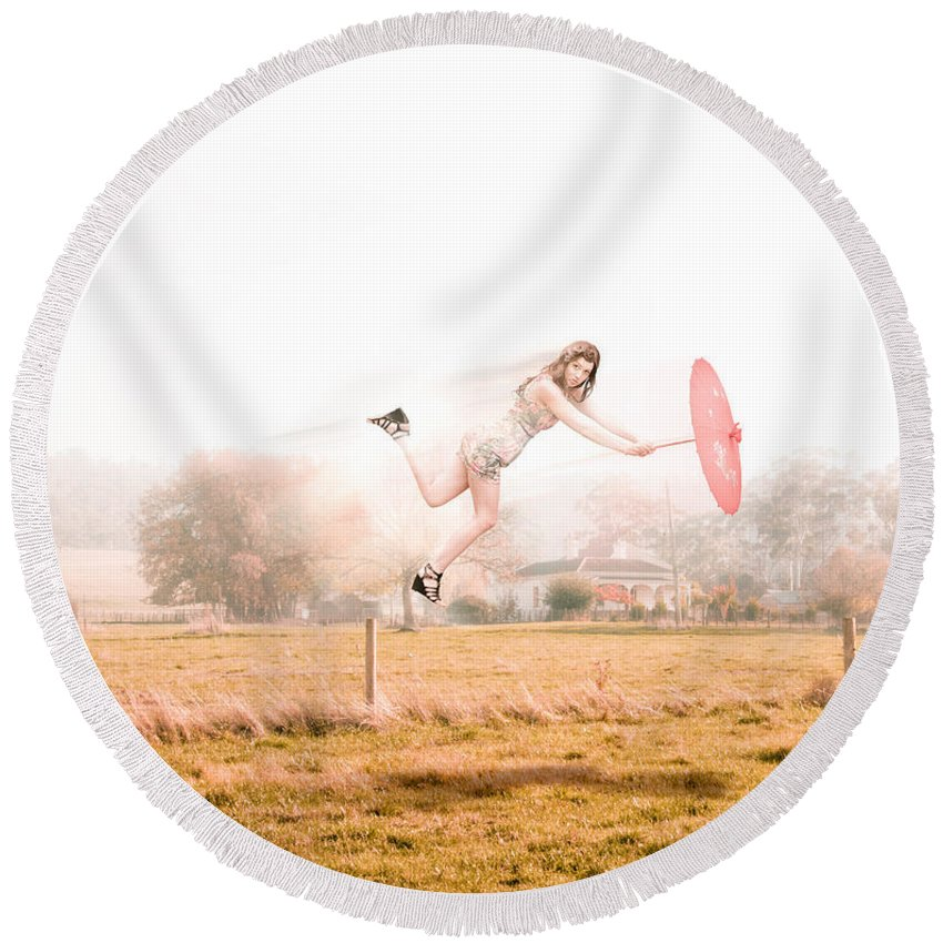 Caucasian Round Beach Towel featuring the photograph Fashion Storm by Jorgo Photography - Wall Art Gallery