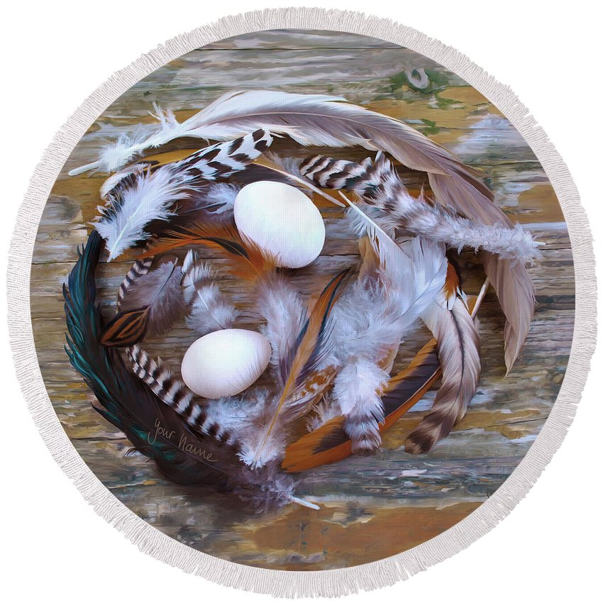 Poultry Round Beach Towel featuring the digital art 1. Feather wreath EXAMPLE by Sigrid Van Dort