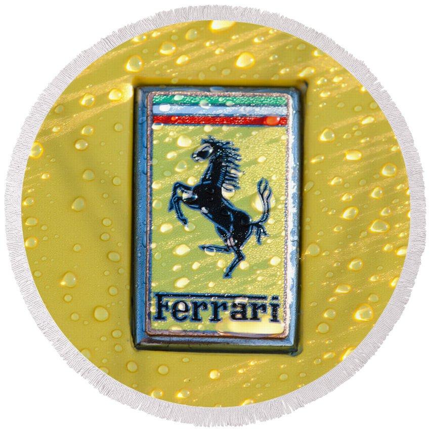Ferrari Emblem Round Beach Towel featuring the photograph Ferrari Emblem by Jill Reger
