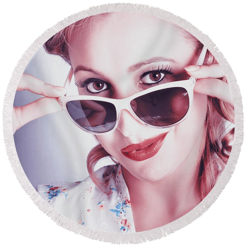 50s Round Beach Towel featuring the photograph Fifties Glamor Girl Wearing Retro Pin-up Fashion by Jorgo Photography - Wall Art Gallery