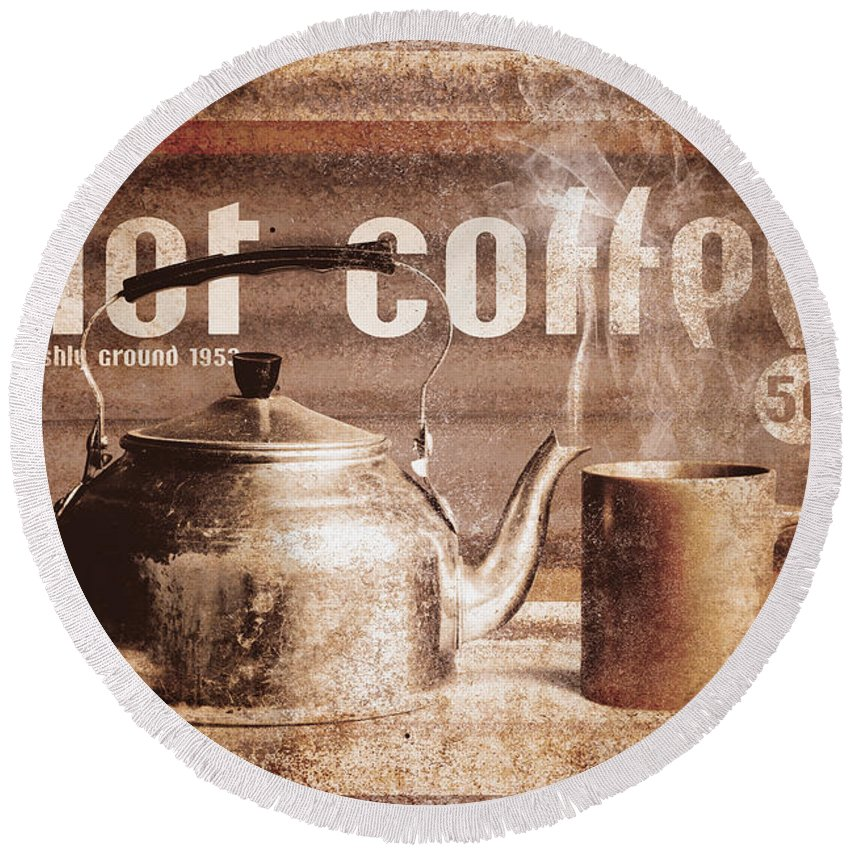 Coffee Round Beach Towel featuring the photograph Fine Art Coffee Shop Tin Sign Insignia by Jorgo Photography - Wall Art Gallery