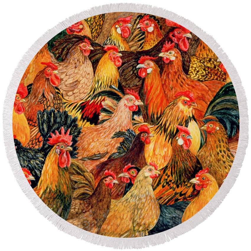 Chicken Round Beach Towel featuring the painting Fine Fowl by Ditz