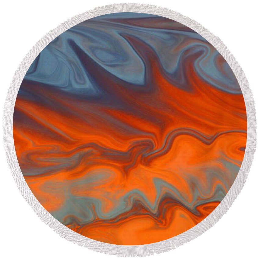 Fire Round Beach Towel featuring the digital art Fire by Carol Lynch