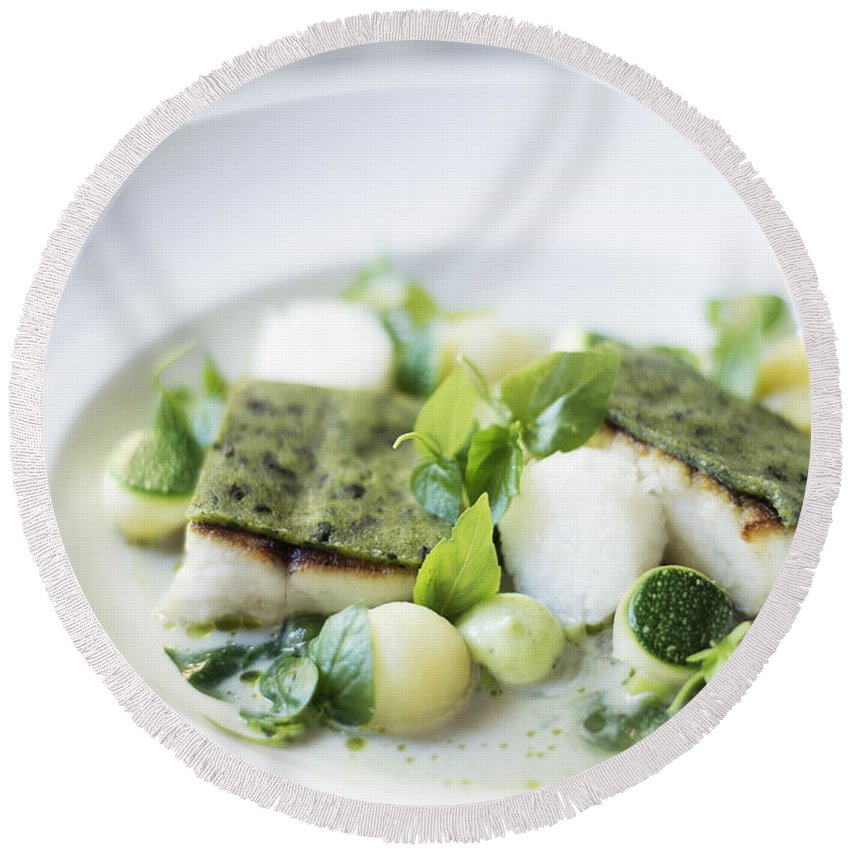 Classic Round Beach Towel featuring the photograph Fish Fillet With Herb Topping And Vegetables by Jacek Malipan