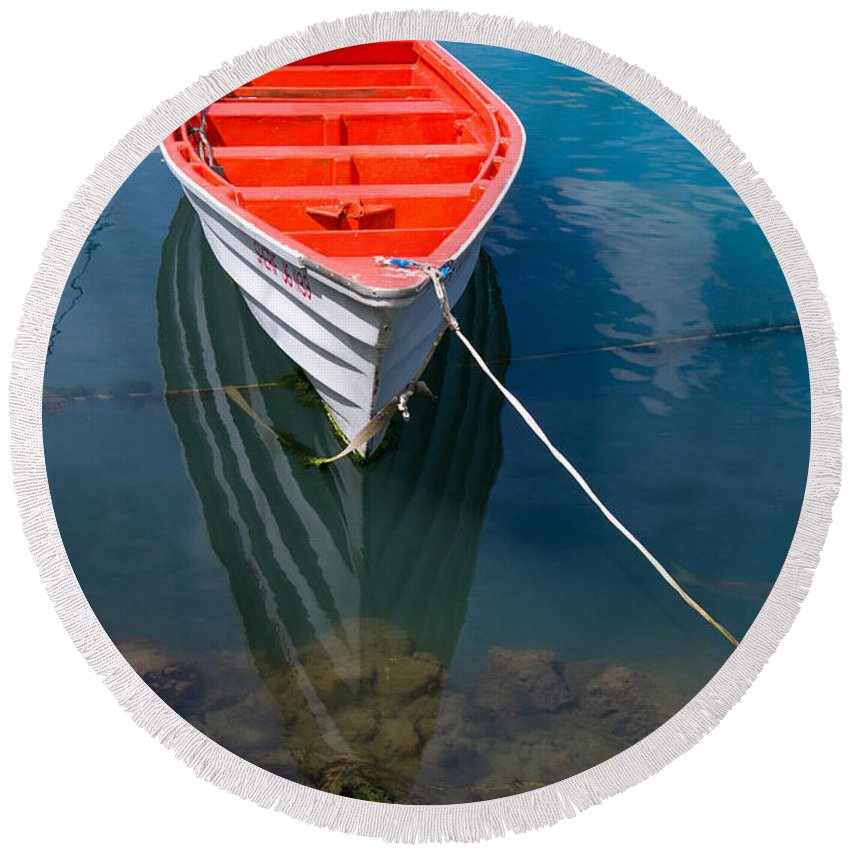 Saint Lucia Round Beach Towel featuring the photograph Fisherman's Boat by Ferry Zievinger