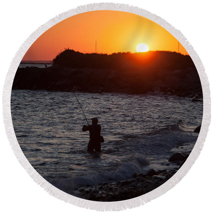 Fishing At Sunset Round Beach Towel featuring the photograph Fishing At Sunset by Karol Livote