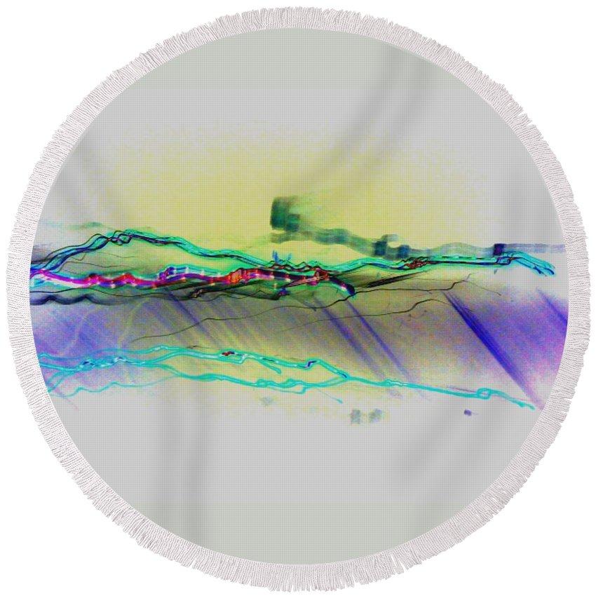 Flash Round Beach Towel featuring the digital art Flash by D Preble