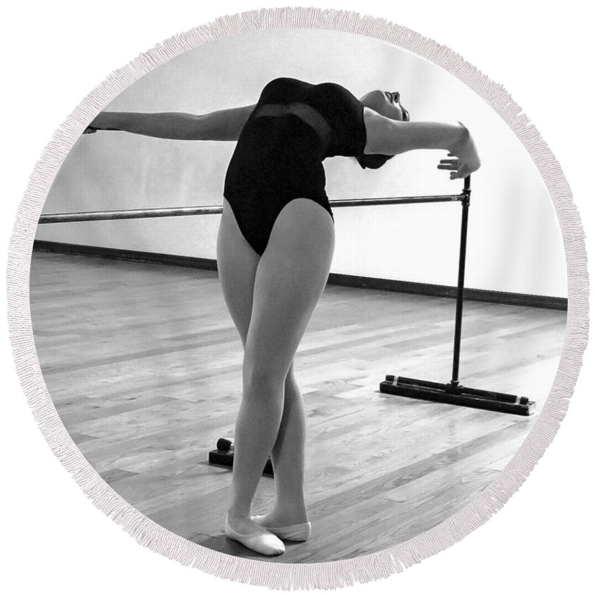 Ballet Dancer Round Beach Towel featuring the photograph Flexibility Bw by Norman Johnson