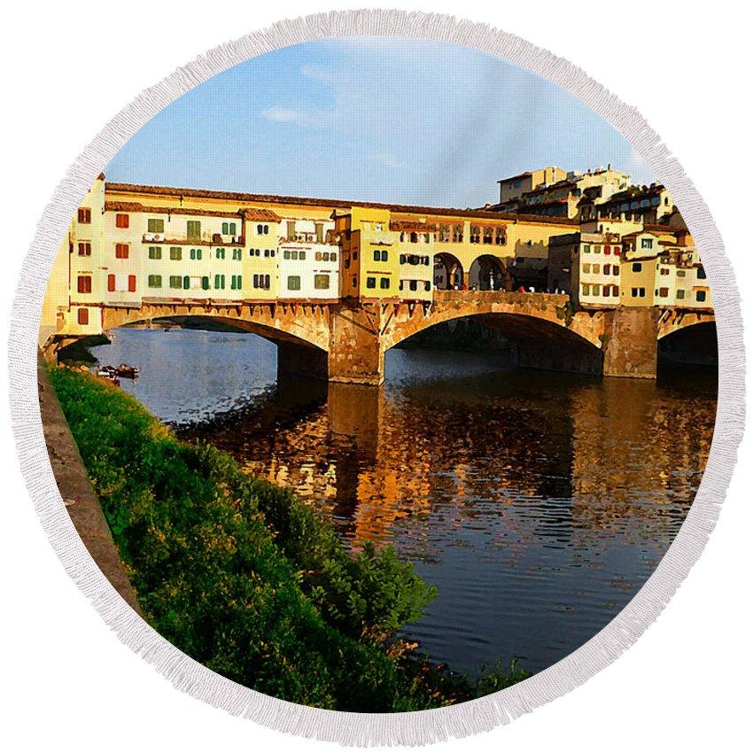 Italy Round Beach Towel featuring the photograph Florence Italy Ponte Vecchio by Irina Sztukowski