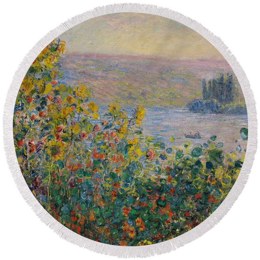 Claude Monet Round Beach Towel featuring the painting Flower Beds At Vetheuil by Claude Monet