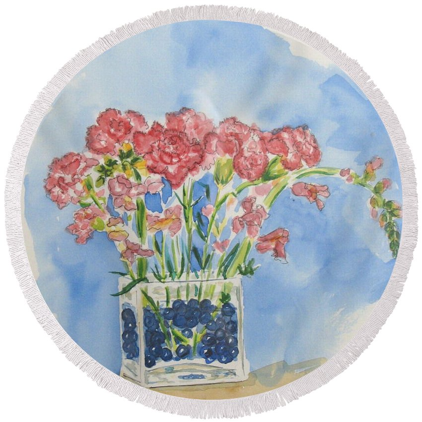 Flowers Round Beach Towel featuring the painting Flowers In A Vase by Mary Ellen Mueller Legault
