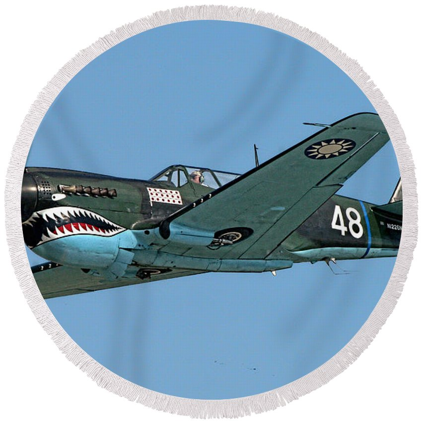 Curtis P-40 Warhawk Round Beach Towel featuring the photograph Flying Tiger by Tommy Anderson