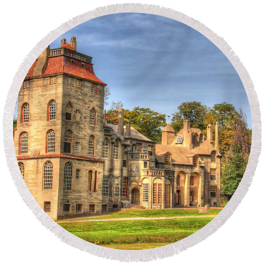 Fonthill Round Beach Towel featuring the photograph Fonthill Castle by Traci Law