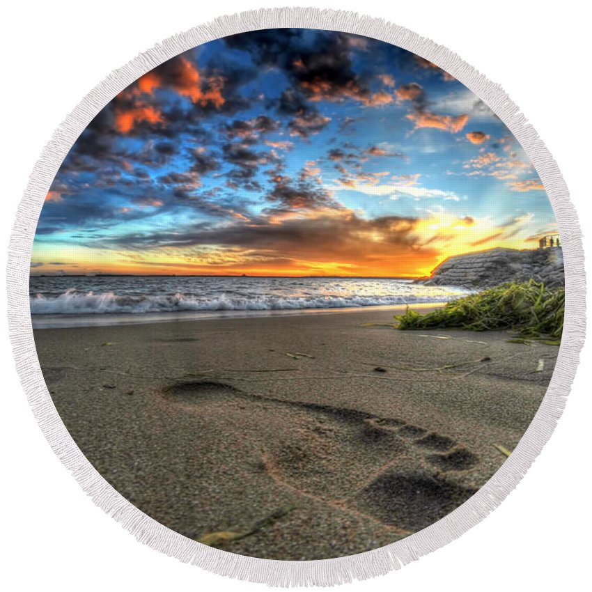 Sunset Round Beach Towel featuring the photograph Foot Print In The Sand by Michael Frank Jr