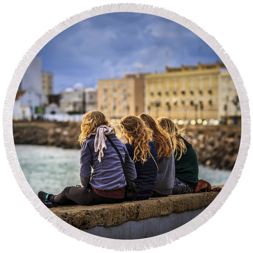 Andalucia Round Beach Towel featuring the photograph Foreign Students Cadiz Spain by Pablo Avanzini