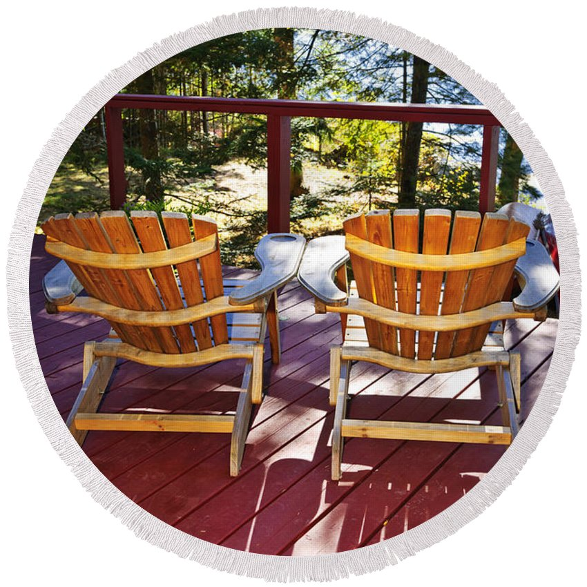 Deck Round Beach Towel featuring the photograph Forest Cottage Deck And Chairs by Elena Elisseeva