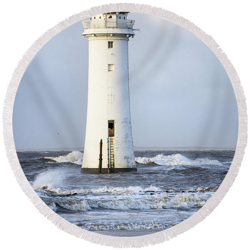 Storm Round Beach Towel featuring the photograph Fort Perch Lighthouse by Spikey Mouse Photography