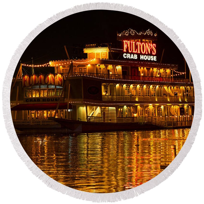 Fulton's Crab House Round Beach Towel featuring the photograph Fulton's Crab House by Linda Tiepelman
