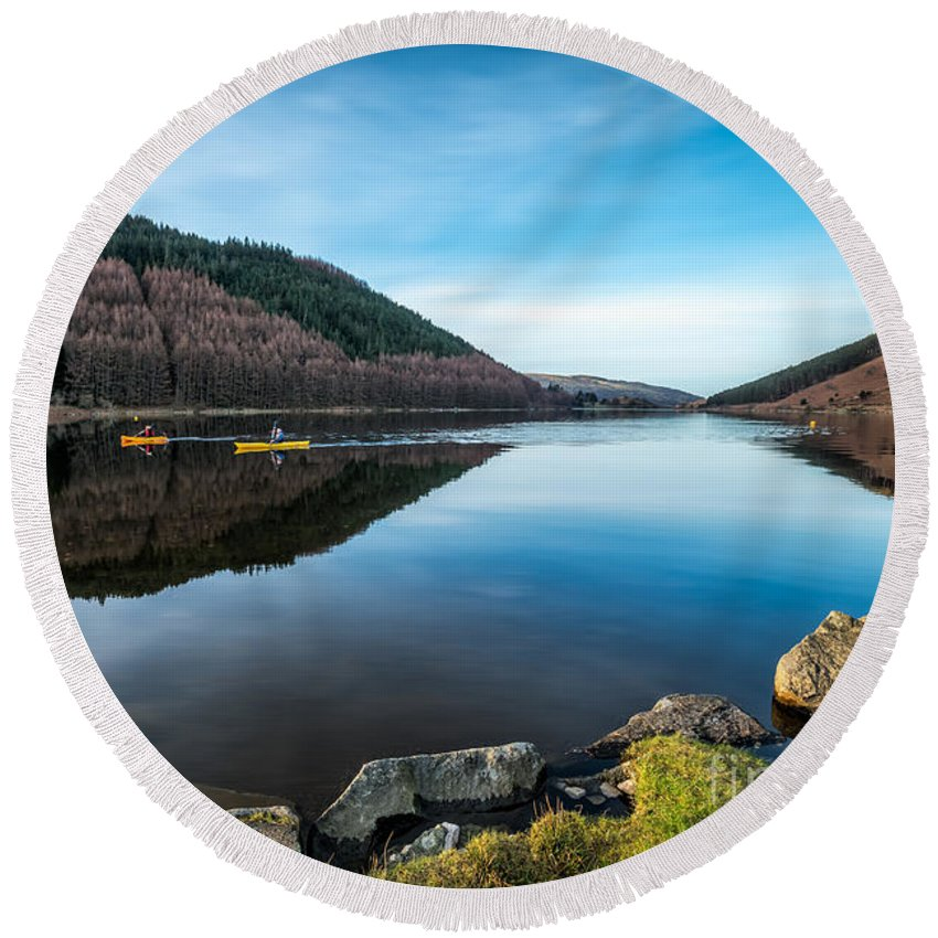 Lake Round Beach Towel featuring the photograph Geirionydd Lake by Adrian Evans