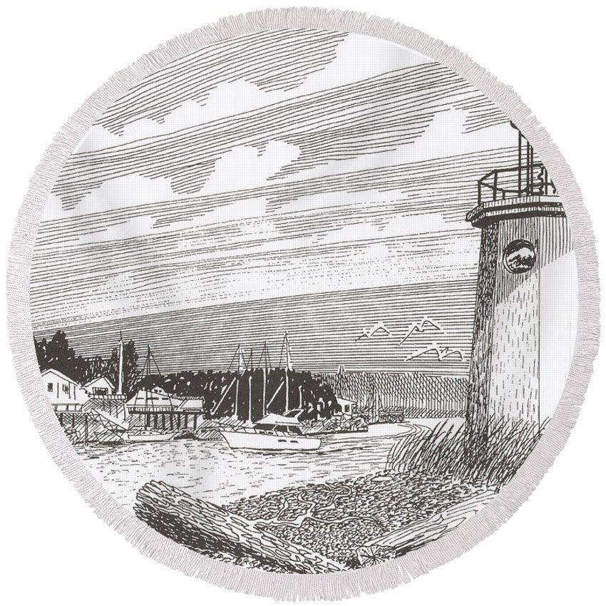Lighthouse Art Round Beach Towel featuring the drawing Lighthouse Gig Harbor Entrance by Jack Pumphrey