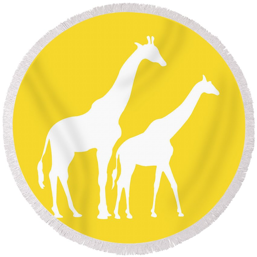 Graphic Art Round Beach Towel featuring the digital art Giraffes In Golden And White by Jackie Farnsworth