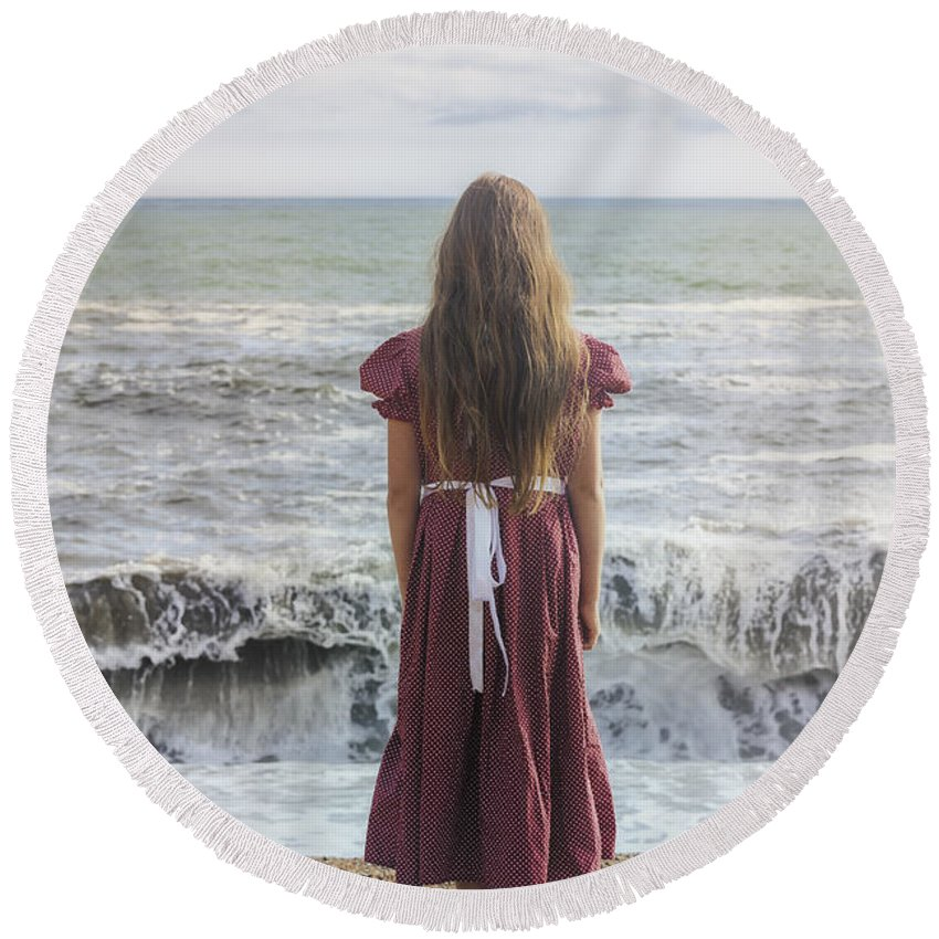 Girl Round Beach Towel featuring the photograph Girl On Beach by Joana Kruse