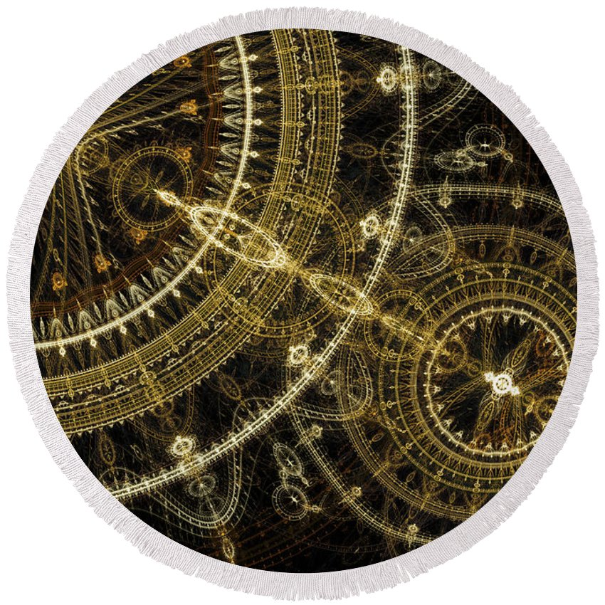 Abstract Round Beach Towel featuring the digital art Golden Abstract Circle Fractal by Martin Capek