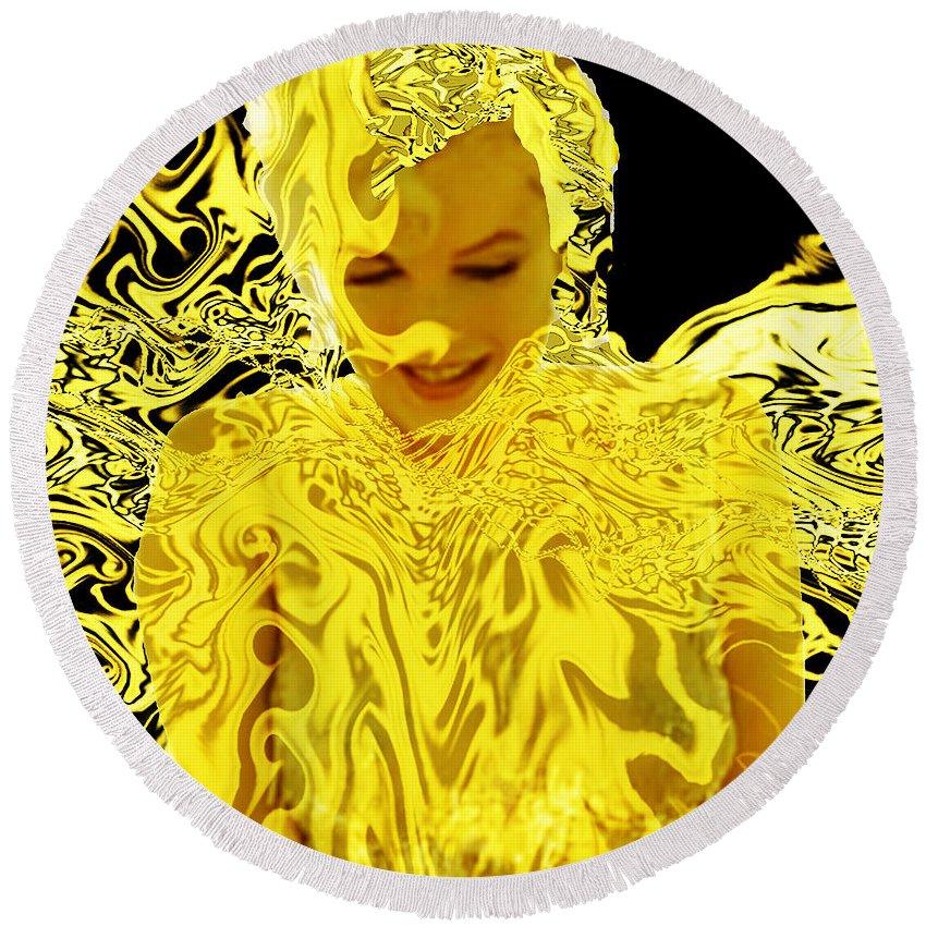 Golden Goddess Round Beach Towel featuring the digital art Golden Goddess by Seth Weaver