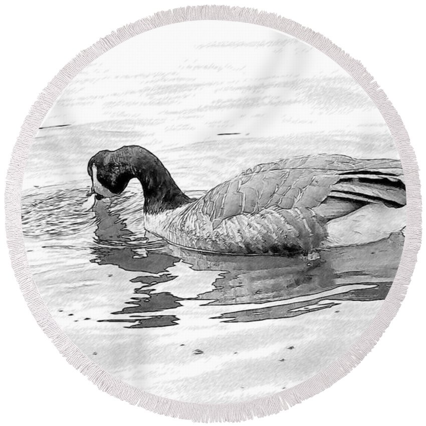Goose Round Beach Towel featuring the photograph Goose In The Water by Alice Gipson