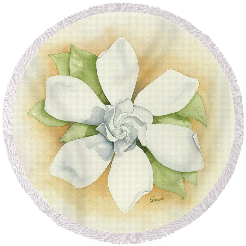 Watercolor Round Beach Towel featuring the painting Graceful Symmetry by Brett Winn