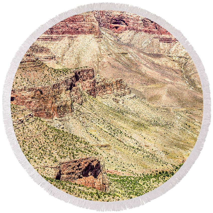 Abyss Round Beach Towel featuring the photograph Grand Canyon National Park South Rim by Bob and Nadine Johnston