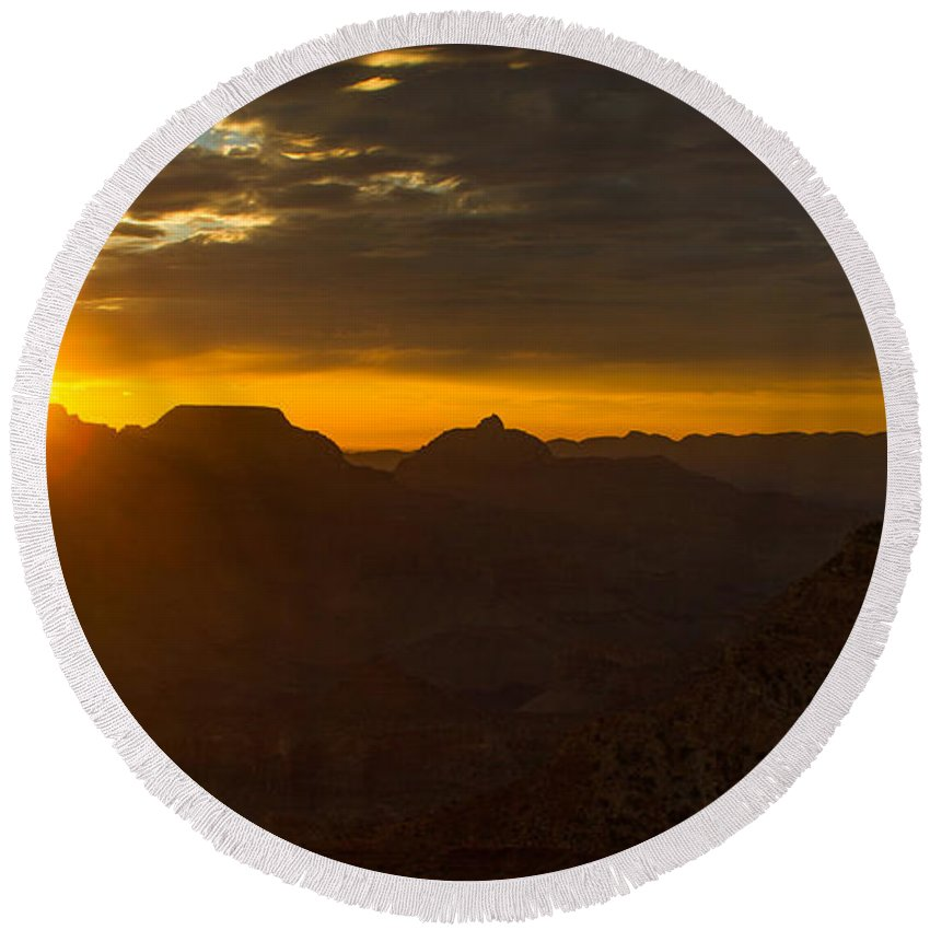 Landscape Round Beach Towel featuring the photograph Grand Canyon Sunrise by Kathleen Odenthal